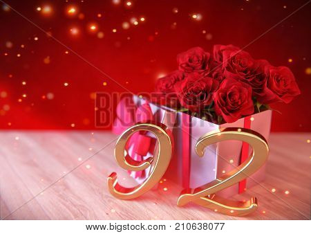 birthday concept with red roses in gift on wooden desk. 3D render - ninety-second. 92nd.