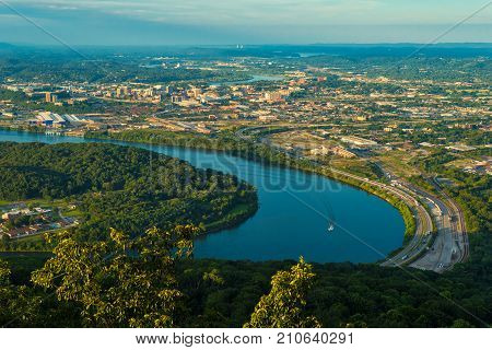 View of Chattanooga Tennessee from Lookout Mountain in early evening sunlight