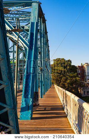The Walnut Street bridge in Chattanooga the second longest pedestrian bridge in the US looking toward downtown