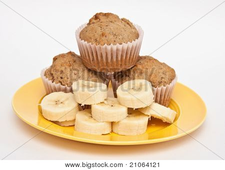 Sliced Banana And Muffins