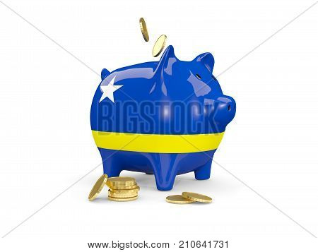 Fat Piggy Bank With Fag Of Curacao