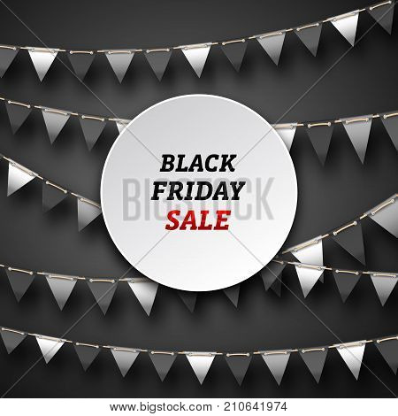 Black Friday Poster with Bunting Pennants, Advertising Design - Illustration Vector