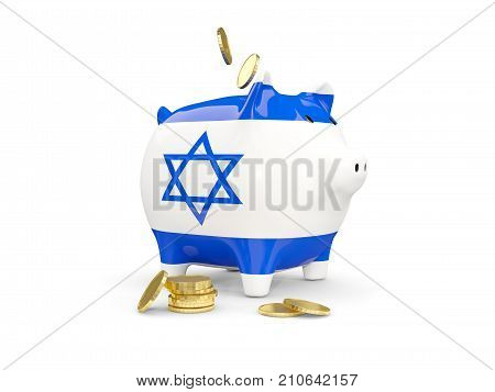Fat Piggy Bank With Fag Of Israel