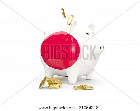 Fat Piggy Bank With Fag Of Japan