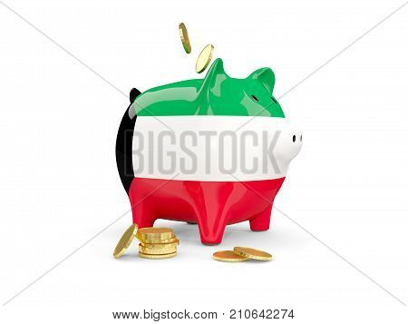 Fat Piggy Bank With Fag Of Kuwait