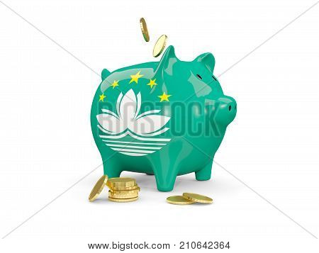 Fat Piggy Bank With Fag Of Macao