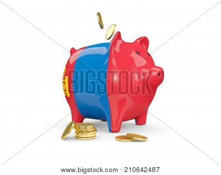 Fat Piggy Bank With Fag Of Mongolia