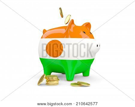 Fat Piggy Bank With Fag Of Niger