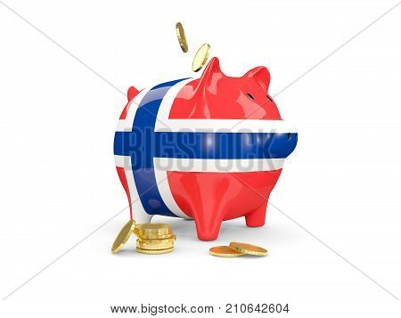 Fat Piggy Bank With Fag Of Norway