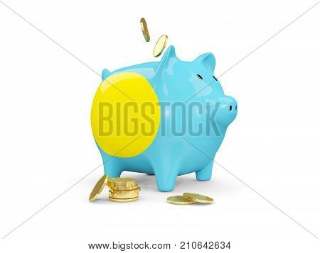 Fat Piggy Bank With Fag Of Palau