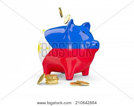 Fat Piggy Bank With Fag Of Philippines