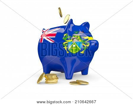 Fat Piggy Bank With Fag Of Pitcairn Islands