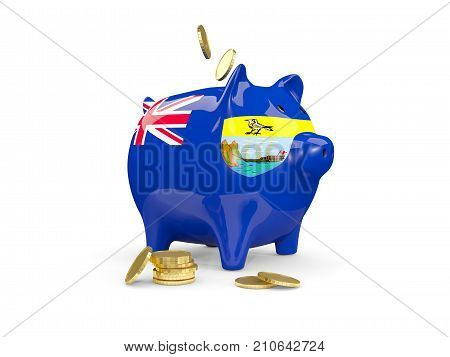 Fat Piggy Bank With Fag Of Saint Helena