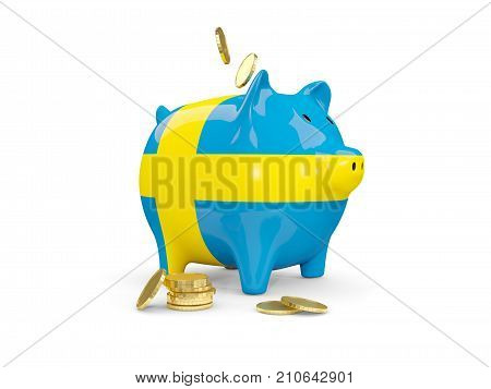 Fat Piggy Bank With Fag Of Sweden