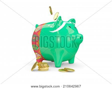 Fat Piggy Bank With Fag Of Turkmenistan
