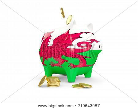 Fat Piggy Bank With Fag Of Wales