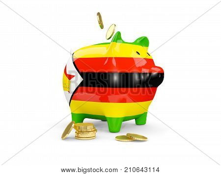 Fat Piggy Bank With Fag Of Zimbabwe