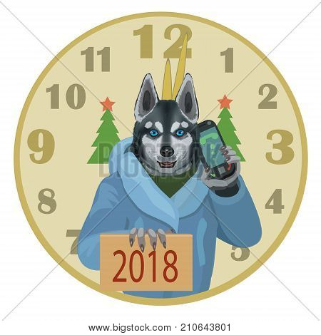 The dog Laika with a mobile phone wishes all a happy new year 2018 the clock struck twelve and there came the dog year!
