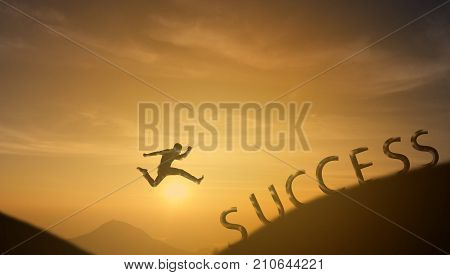 brave man successful conceptsilhouette man jumping over the sun between gap of the mountain it feel like a winner success finishreach a goal of live jobswork