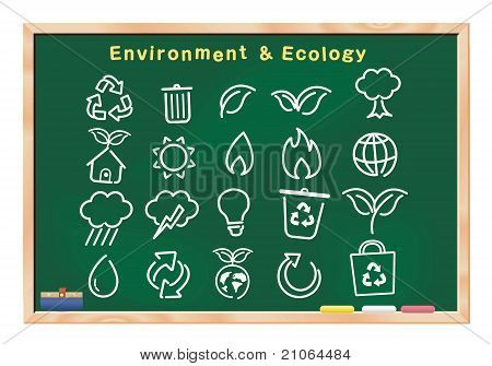 ecology icon drawings on blackboard vector