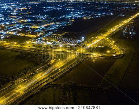 Night Scene Of T-junction