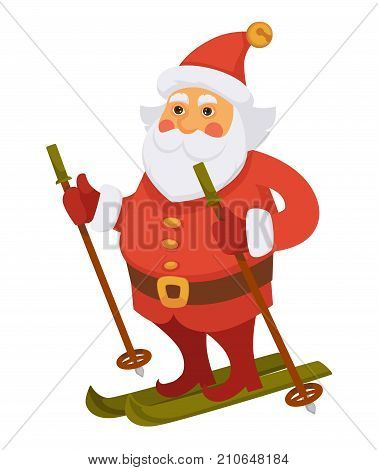 Santa skiing on winter vacations cartoon character. Santa with ski on holidays in daily life routine activity. Vector isolated flat icon for Christmas, New Year greeting card design