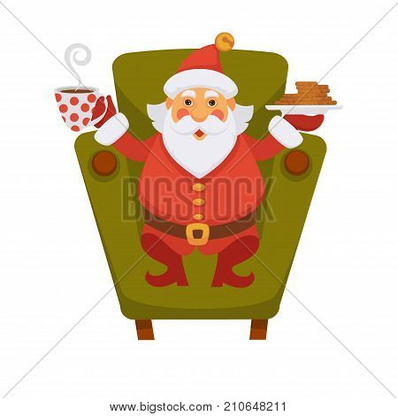 Santa drinking tea with cookie on chair cartoon character. Santa at home having breakfast in daily life routine activity. Vector isolated flat icon for Christmas greeting card design