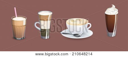 Different types of coffee. Coffee menu. Set of vector illustrations
