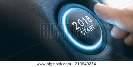 Finger pressing a 2018 start button. Concept of new year two thousand eighteen. Composite between a photography and a 3D background. Horizontal image