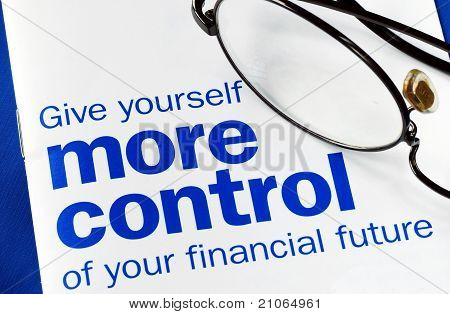 Focus on and take control of your financial future isolated on blue