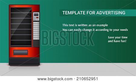 Vending machine for the sale of snacks, soda or foods. Detailed red machine for sales to a two-color background, 3D illustration. Template for advertising poster