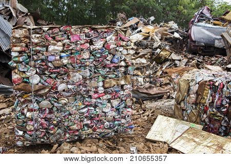 24 Dec 2017Nakornrajsima Thailand photo group of compress aluminum can in recycle factory