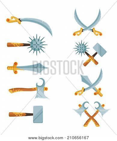 Vector set of cartoon game design crossed swords, axes weapon isolated on white background illustration