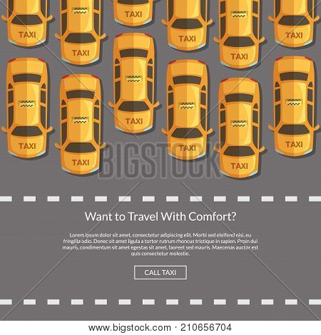 Vector taxi cars on the road in front of pedestrian zone website concept illustration