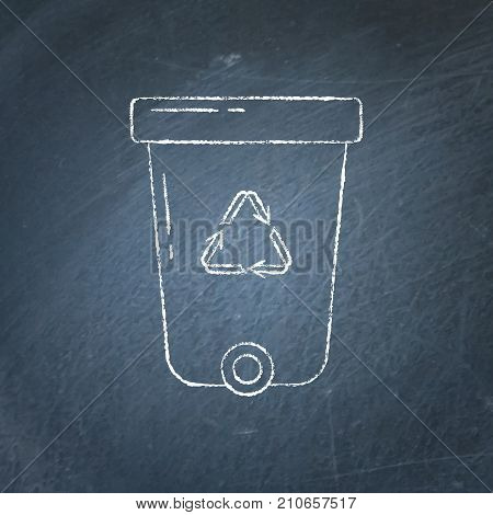 Recycle bin icon sketch on chalkboard. Trash can with recycling symbol arrows - chalk drawing on blackboard.