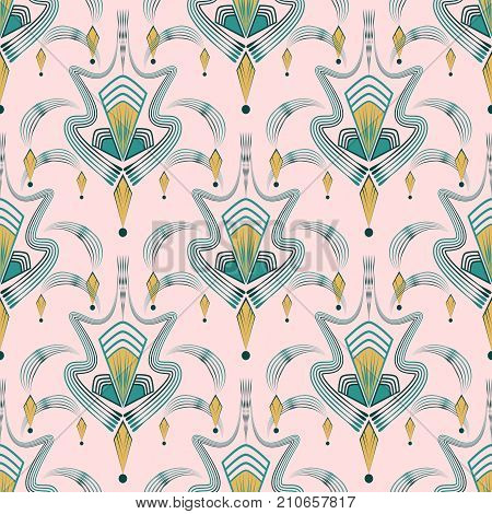 Art deco modern pattern graphic ornament. Abstract stylish background. Repeating texture with stylized elements