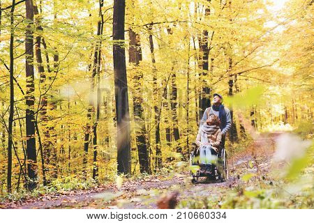 Active senior couple on a walk in a beautiful autumn nature. A man and woman in a wheelchair walking in forest.