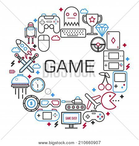 Electronic games poster of retro gamepad, gaming joystick and play characters and consoles. Vector outline icons of internet computer or smartphone tank battle, war craft or solitaie cards