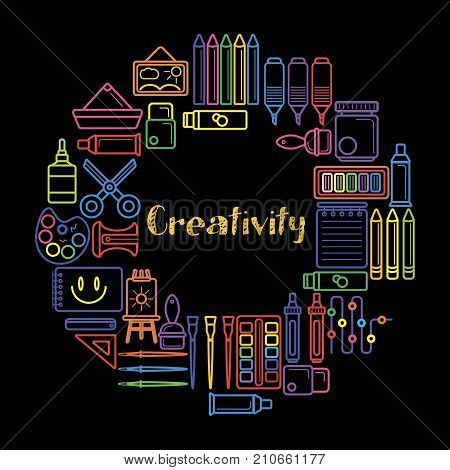 Kids creativity and children art design poster of painting tools, paint brush and pencil or felt tip pen. Vector outline color icons of scissors, watercolor drawing pad and computer or designer picture