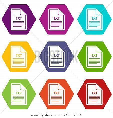 File TXT icon set many color hexahedron isolated on white vector illustration