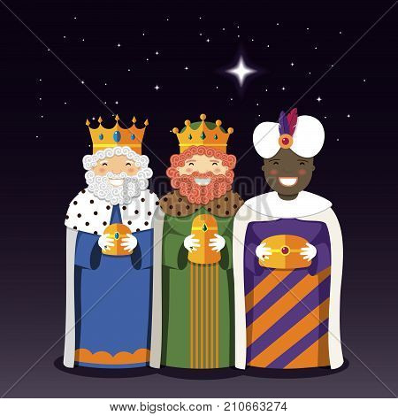 The Three Kings with christmas star. Vector Illustration