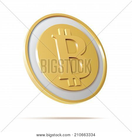 Bitcoin. Physical bit coin. Digital currency. Cryptocurrency. Golden coin with bitcoin symbol isolated on white background. Stock vector illustration