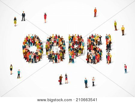 Group of people standing in the word Oops. Vector illustration on white background. The concept of error.