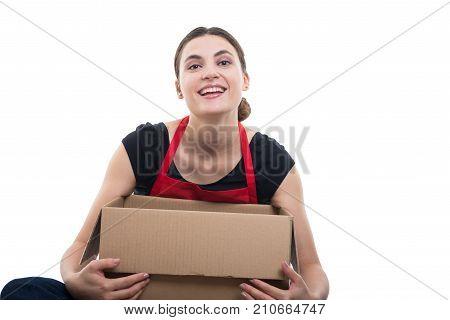 Female Merchandiser Looking Satisfied Of Her Delivery