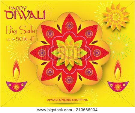 Diwali sale banner with burning diya - oil lamp traditional symbol and happy Diwali Holiday Sale promotion text on abstract fireworks, mandala, vector decorative background for Deepavali light festival India