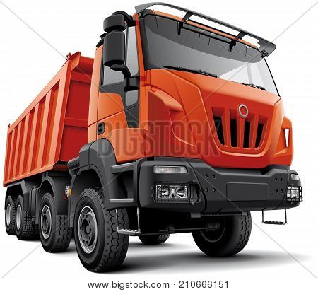 High quality vector illustration of typical 4-axle heavy construction truck isolated on white background. File contains gradients blends and transparency. No strokes. Easily edit: file is divided into logical layers and groups.