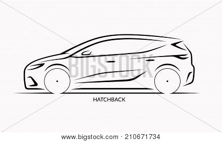 Vector car silhouette. Side view of hatchback
