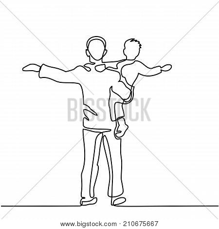 Continuous line drawing vector illustration. Father with son in his arms silhouette. Vector illustration