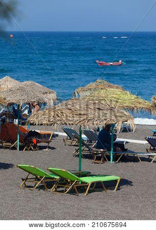 Beautiful Beach In Santorini Isalnd.