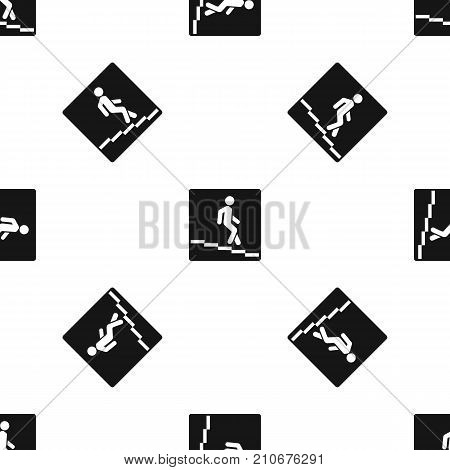 Underpass road sign pattern repeat seamless in black color for any design. Vector geometric illustration
